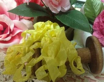 Bright Yellow Seam Binding Ribbon Hand Crinkled Ribbon