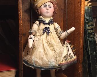 The Sea Captain's Daughter handmade original art doll/marionette