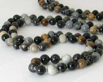 Long Hand Knotted Picasso Jasper Necklace
