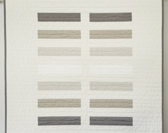 Modern Baby Quilt -  Earth Tone Bricks