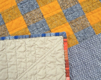 Linen + Flannel + Denim, Oh My! #1  Modern quilted blanket for babies, pets, laps and more