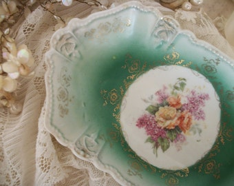 antique porcelain china hand painted dish, victorian bouquet of roses and lilacs, lacy filigree gold work, tea party table, pin jewelry dish