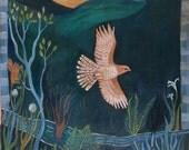 In Flight, greeting card, bird, hawk, bird watcher, nature, woods