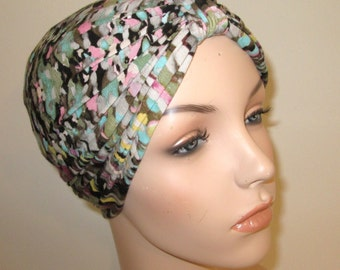 Colorful waves Lycra Stretch Knit Turban, Chemo Hat, Snood, Womens Hat Free Ship USA