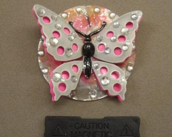 Vintage large three dimensional butterfly brooch, Grey and pink with black body, Recycled with magnetic back clasp, Bonus scarf