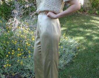 Vintage Champagne Silk Wide Leg Trouser S