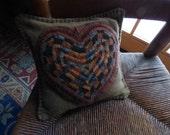 Primitive Hooked Wool Heart Balsam Fir Pillow