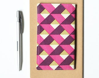 Fabric Checkbook Cover, Pink and Purple Geometric Fabric, Womens Check Book Holder