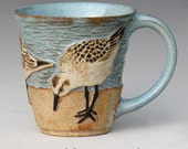 RESERVED FOR PAM--Birds & Beach Mug #3