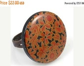 ON SALE Vintage Orange and Black Floral Ring