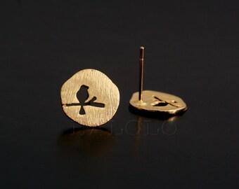 Bird Golden Stud Earring Post Finding (ET035A)