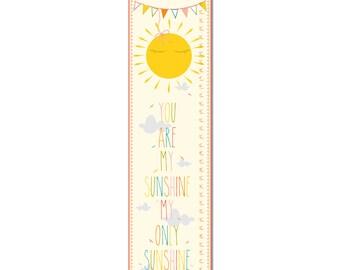Custom Canvas Growth Chart - You Are My Sunshine  - Children's wall art -
