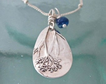 Queen Anne's Lace Necklace in Fine Silver with Blue Kyanite
