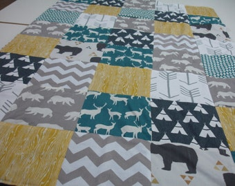Bear Country Teal Navy Gold Gray Minky Blanket You Choose Size MADE TO ORDER No Batting