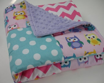 Sorbet Owls Aqua Hot Pink Patchwork Minky Blanket  You Choose Size and Minky Color MADE TO ORDER No Batting