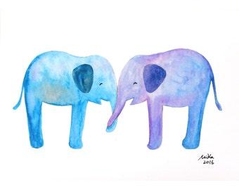 Elephant Print Elephant Best Friends Elephant Nursery Art Print Watercolor Painting Print Pastel Home Wall Decor Blue Purple Children Art