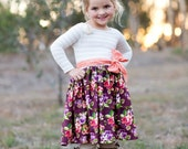 SAMPLE SALE -  Merrilee Dress in Woodland Rose  - Size 4... Jersey bodice with applique flowers and charming print skirt