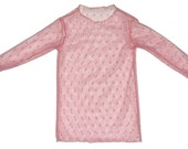 SAMPLE SALE - Dotty t-shirt in Rose with ruffles at wrists .... So cute... Perfect for layering - Size 12 months