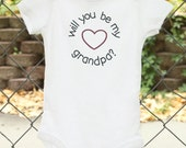 A Will You Be My Grandpa? Pregnancy Announcement Baby Reveal Pregnancy Reveal to Grandparent Newborn Baby Clothes Announcement Ideas