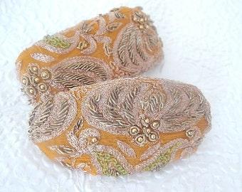 Cinnamon barrette,embroidered barrette, beaded barrette, sequinned barrette,fabric barrette, hair accessory, fashion accessory