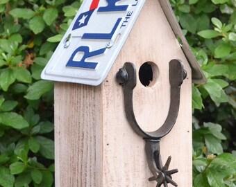 Rustic Birdhouse - Primitive Birdhouse - Cowboy - spurs - Cowboy Birdhouse
