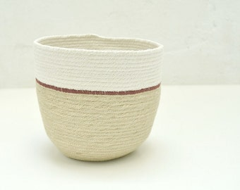 Utensil holder, Natural jute bowl, Storage basket, Kitchen decor, Organiser basket, Rustic basket, Woven basket jute and cotton Plant holder