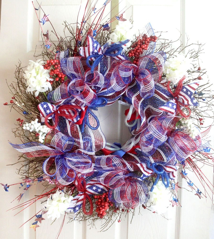 Patriotic Wreath For Front Door Fourth Of July Wreath
