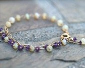 Ethiopian Opal and Purple Amethyst Gemstone 14KT Gold Filled Wire Wrapped Handmade Bracelet, February Birthstone, Amethyst Jewelry