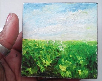 "Mini Oil Painting Landscape Grass Sky 3""x 3"" Almost READY to SHIP"