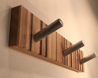 Robe Hook, Towel Hook, Wood and Metal, Bath and Bedroom Wall Decor