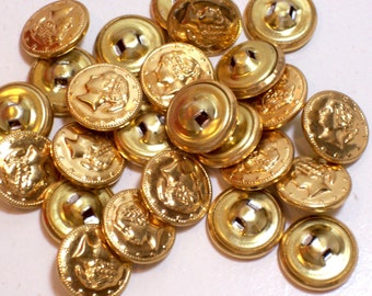 Gold Buttons,  Goldtone Metal Buttons x 25 pieces 5/8 inch diameter, Lady Head Buttons