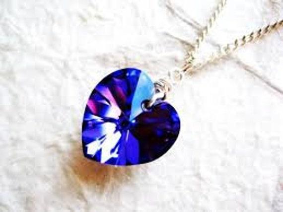 Purple Blue Swarosvki AB Crystal Heart Pendant, Boho Jewellery, Bridal Jewellery