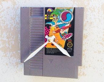 Clock, Nintendo Video Game Cartridge Clock, T & C Surf Game, Wall Clock, Home Decor, Geekery, Video Game