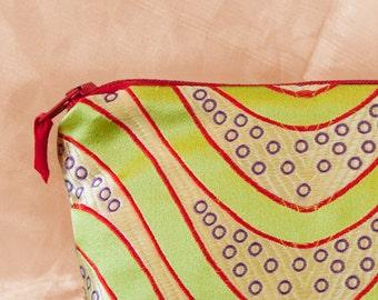 LIME SWIRL Silk Brocade Makeup Bag