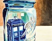 TARDIS Doctor Who Sci Fi time traveller Landed in the Wrong Place ORIGINAL watercolor painting by Redstreake