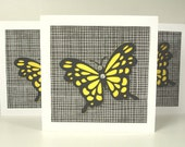 Yellow and Black 3D Butterfly Gift Cards Set of Six Faux Gems Monarch Spring Fly Flutter By Lunchbox Love Notes Wings