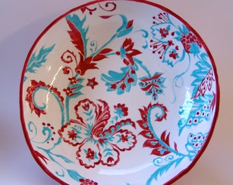 Huge pottery Serving Dish, turquoise & red ceramic Fruit Bowl / Salad Bowl whimsical flower pattern