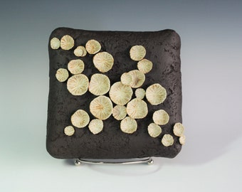SALE. Ceramic wall sculpture, white fungi on black. Square with dimensional circles hanging wall tile by Chelsea Mae
