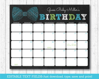 Bow Tie Chalkboard Baby Due Date Calendar / Bow Tie Baby Shower / Birthday Predictions / Guessing Game / INSTANT DOWNLOAD Editable PDF