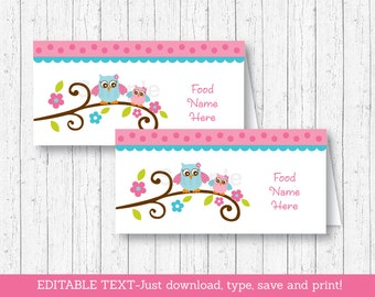 Owl Buffet Cards / Owl Place Cards / Owl Baby Shower / Pink Owl / Girl Owl / Baby Girl Shower / INSTANT DOWNLOAD Editable PDF