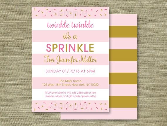 cute pink gold baby sprinkle invitation twinkle twinkle sprinkle