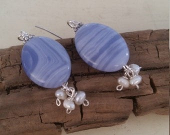 Crazy Blue Lace Agate and Petite Pearl Dangle Sterling Silver Earrings