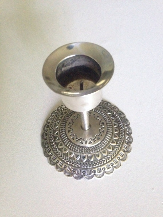 Rare Navajo Silver Handcrafted Candlestick by Sunshine Reeves