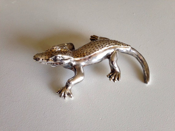 Monumental Sterling Silver Alligator Brooch or Pendant