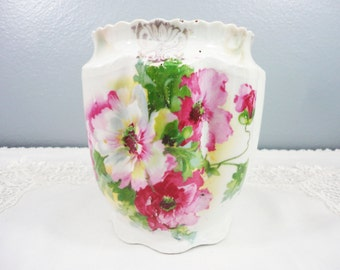 Antique Pink and White Poppy Biscuit Jar with Lusterware Finish and Gray Accents - Vase - Missing Lid