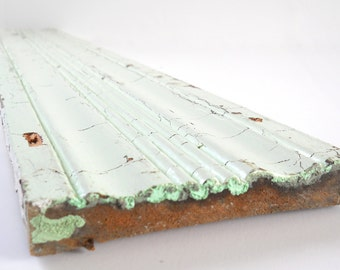 1800s Antique Trim Board • Long Wood Green Trim Piece • Shabby Chippy Reclaimed Board