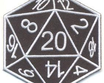 D20 Embroidered cloth Patch D & D Dice Dungeon Master