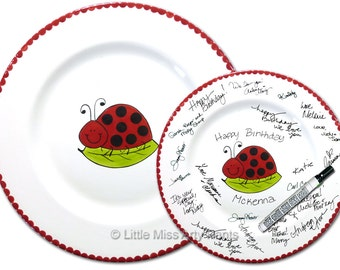 11 inch Ready to Ship - Hand Painted Signature Birthday Plate - Smiling Ladybug Design