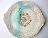 Vintage Vanity Fair Pink Blue Handled Serving Platter