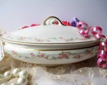 Vintage Crooksville China Pink Green Covered Dish - Cottage Style